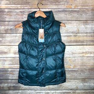Prana Milly puffer vest deep balsam green NWT xs